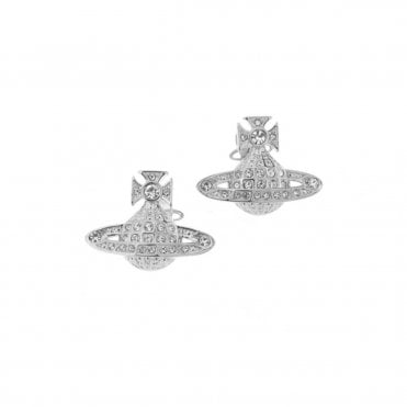 Rhodium Silver and Crystal Minnie Bas Relief Earrings