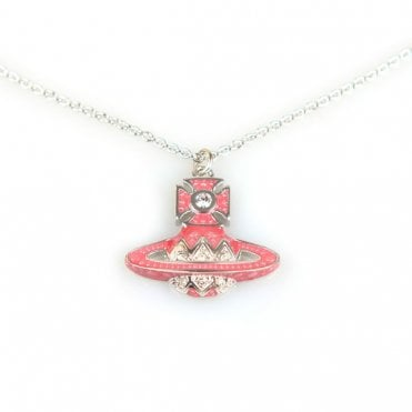Rhodium Silver and Crystal Pink Aretha Small Bas Relief Pendant Necklace