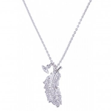 Rhodium Silver and Crystal Savannah Feather Necklace