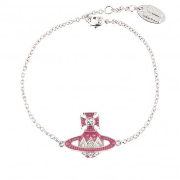 Rhodium Silver and Crystal with Pink Aretha Small Bas Relief Bracelet