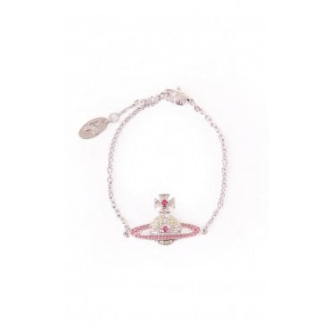 Rhodium Silver and Jonquil Light Rose Crystal Rose Kika Bracelet