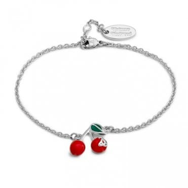 Rhodium Silver and Red and Green Enamel Cherry Bracelet