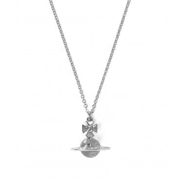 Rhodium Silver and White Crystal Ball Pina Small Orb Pendant Necklace
