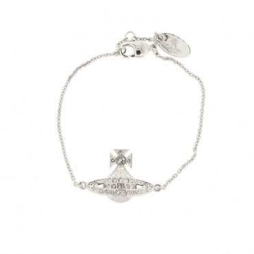 Rhodium Silver and White Crystal Minnie Bas Relief Bracelet