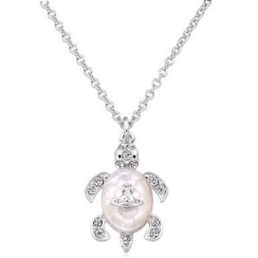 Rhodium Silver and White Crystal Turtle Pendant Necklace