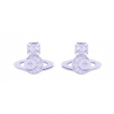 Rhodium Silver and White CZ Dorina Bas Relief Earrings