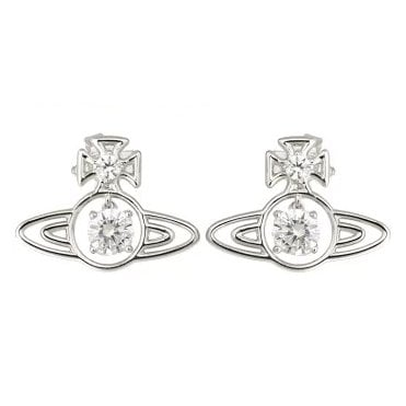Rhodium Silver and White CZ Sheila Earrings