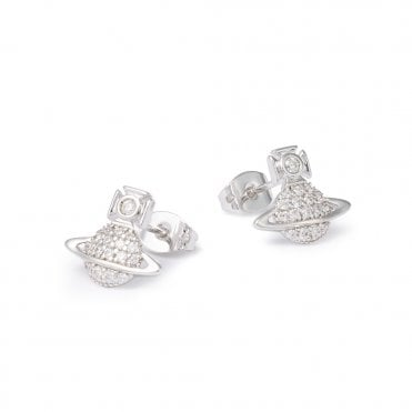 Rhodium Silver and White CZ Tamia Earrings