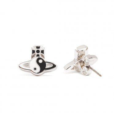 83d758236 Rhodium Silver Black and White CZ Yin Yang Earrings. Vivienne Westwood ...