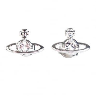 Rhodium Silver Crystal Nano Solitaire Earrings