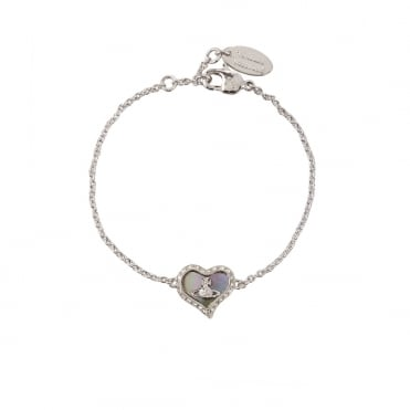 Rhodium Silver Grey Mother of Pearl Petra Bracelet
