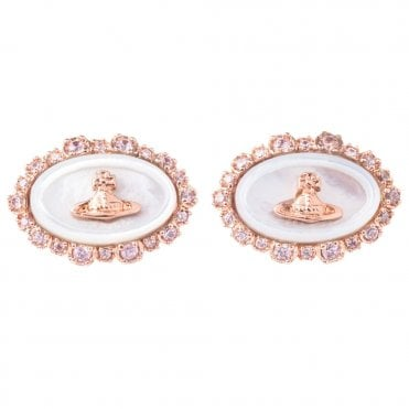 Rhodium Silver Pink CZ White Mother Of Pearl Maja Earrings