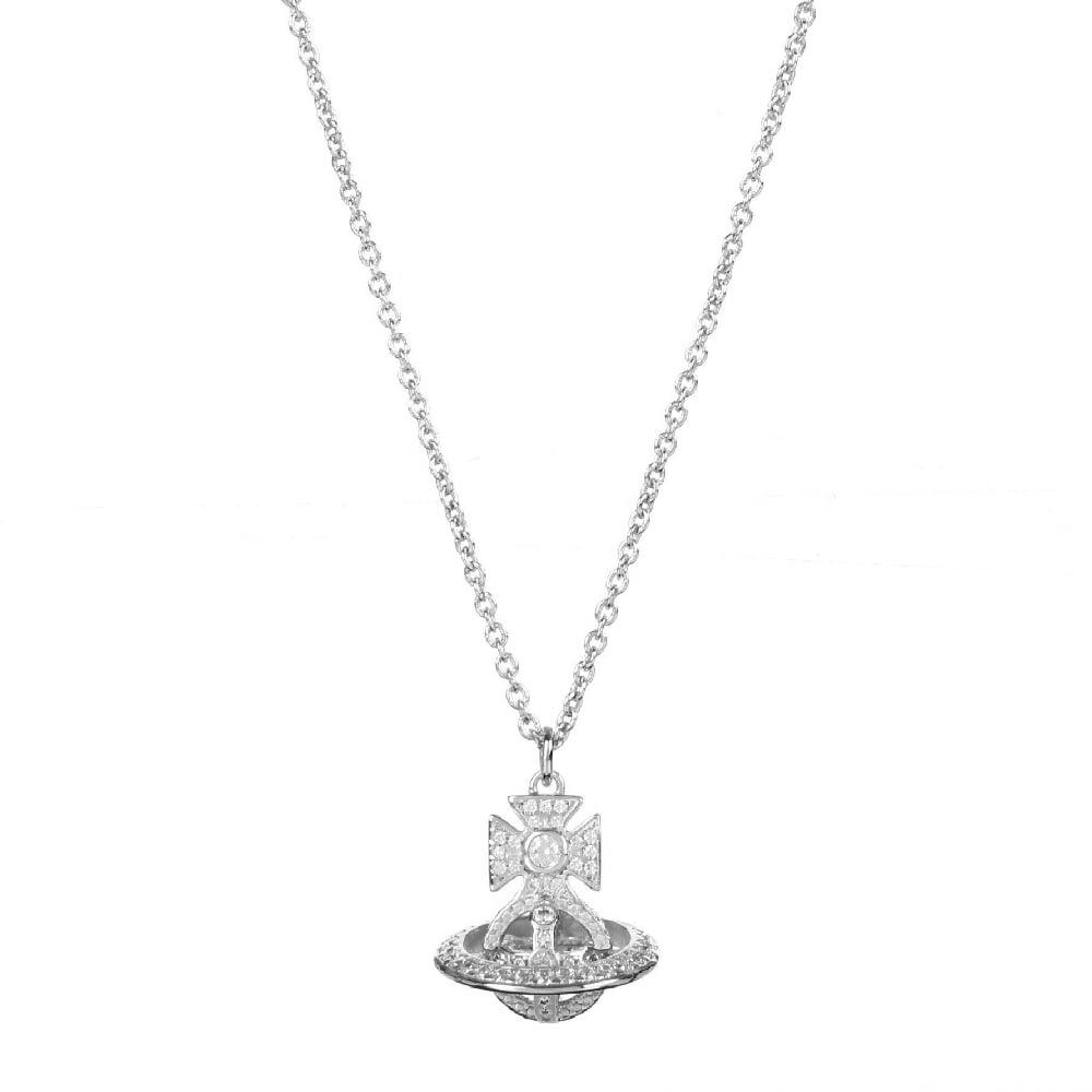 Rhodium silver white cz isabella orb pendant by vivienne westwood rhodium silver white cz isabella orb pendant necklace aloadofball Gallery