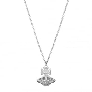 Rhodium Silver White CZ Isabella Orb Pendant Necklace