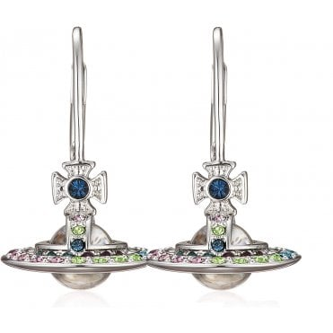 Silver Toned and Rainbow CZ Claretta Orb Drop Earrings