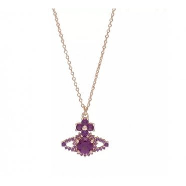 Valentina Necklace in Yellow Gold with Purple Amethyst Crystal