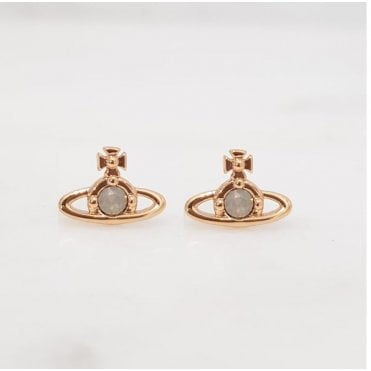 Yellow Gold and Light Grey Nano Solitaire Earrings