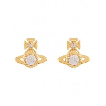 Yellow Gold and Rhodium Crystal Ouroboros Stud Earrings