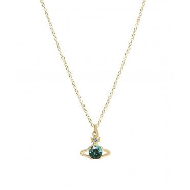 Yellow Gold Toned and Green CZ Ouroboros Necklace