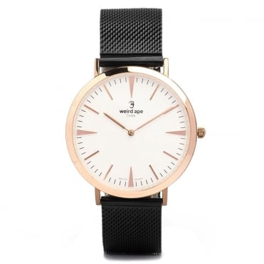 Duke White Rose Gold & Black Mesh Watch