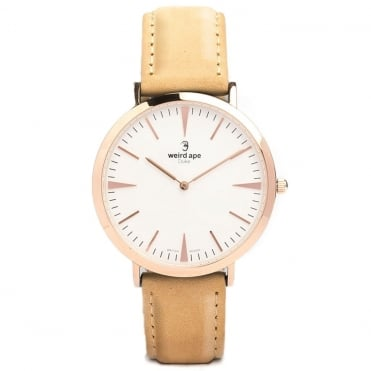 Duke White Rose Gold & Sandstone Suede Watch