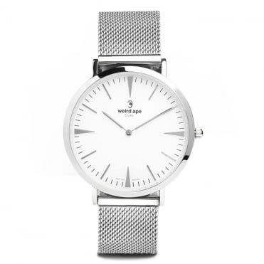 Duke White Silver & Silver Mesh Watch