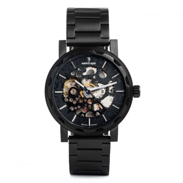Kolt All Black & Black Link Skeleton Watch