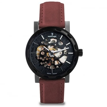 Kolt All Black & Royal Blood Suede Skeleton Watch