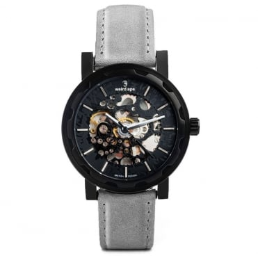 Kolt All Black & Slate Grey Suede Skeleton Watch