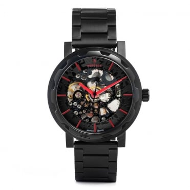 Kolt Black Red & Black Link Skeleton Watch