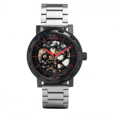 Kolt Black Red & Silver Link Skeleton Watch