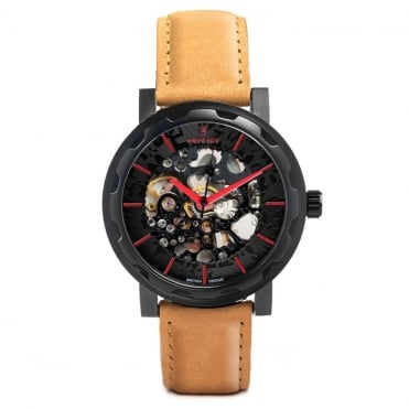 Kolt Black Red & Tan Suede Skeleton Watch