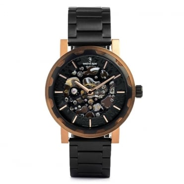 Kolt Black Rose Gold & Black Link Skeleton Watch