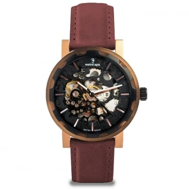 Kolt Black Rose Gold & Royal Blood Suede Skeleton Watch