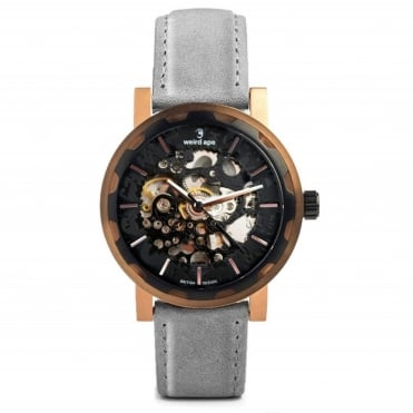 Kolt Black Rose Gold & Slate Grey Suede Skeleton Watch