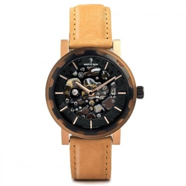 Kolt Black Rose Gold & Tan Suede Skeleton Watch