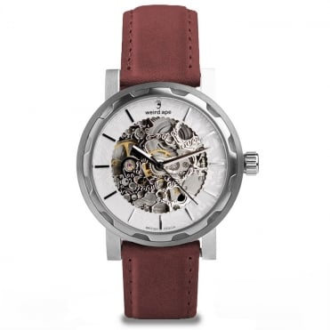 Kolt White Silver & Royal Blood Suede Skeleton Watch