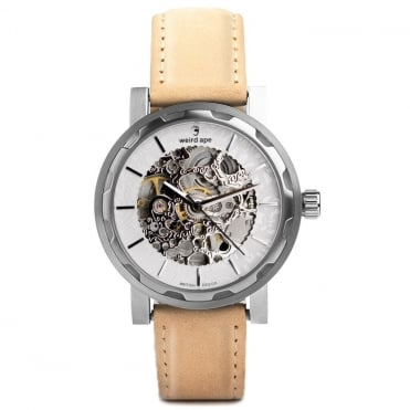 Kolt White Silver & Sandstone Suede Skeleton Watch