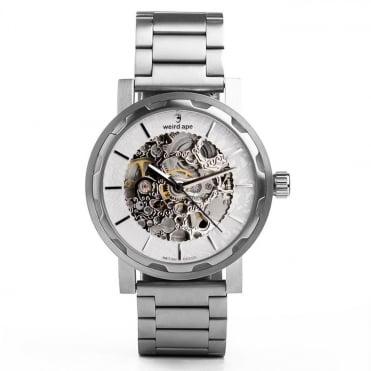 Kolt White Silver & Silver Link Skeleton Watch