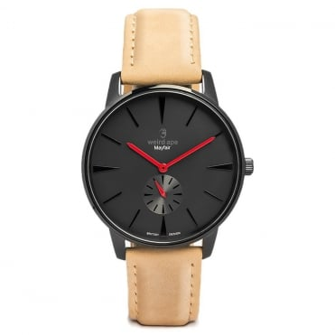 Mayfair Black Red & Sandstone Suede Watch