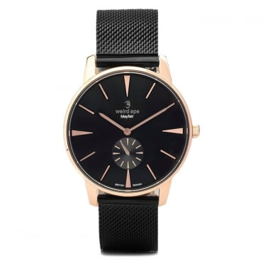 Mayfair Black Rose Gold & Black Mesh Watch