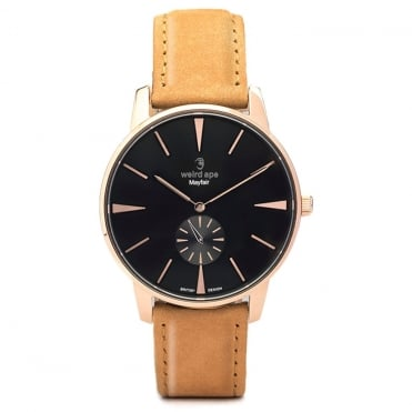 Mayfair Black Rose Gold & Tan Suede Watch