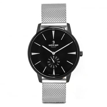 Mayfair Black White & Silver Mesh Watch