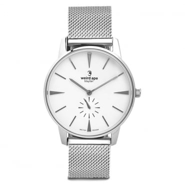 Mayfair White Silver & Silver Mesh Watch
